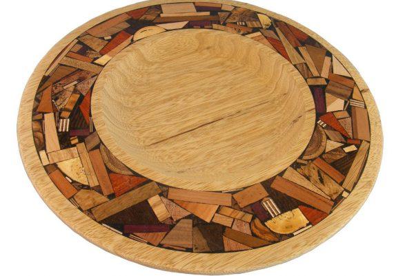Challah Tray-Wooden Plate w/ Mosaics- Tray w/ Wide Mosaic Border- African walnutTRAY-M-O-AF