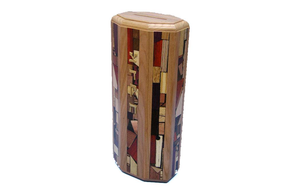 XL Octagonal Tzedakah Box - Judaica-Gift - Wooden Tzedakah Box
