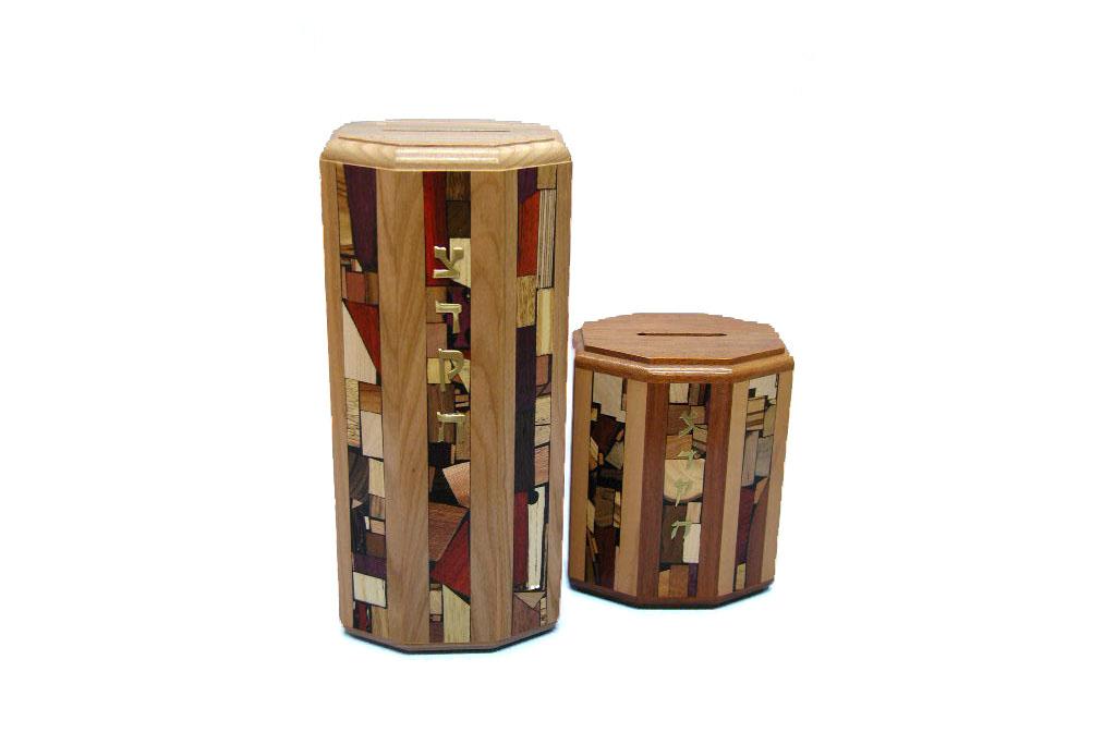 Comparison of the XL and Large Octagonal Tzedakah Boxes - Wooden Tzedakah Boxes