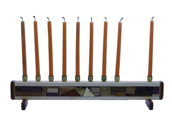 Hanukkah Menorah- Wooden Judaica Gift - Chanukkah Present - with candles - MEN-S-O-O