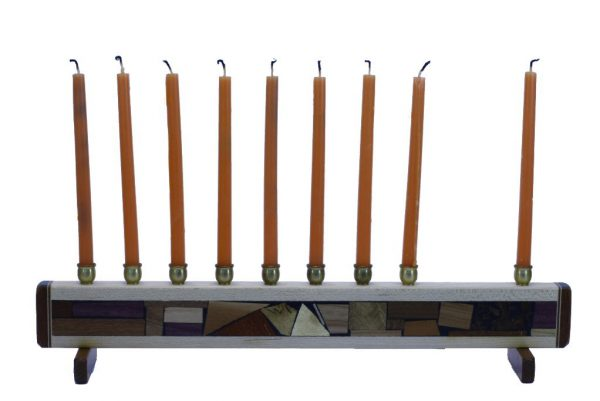 Hanukkah Menorah- Wooden Judaica Gift - Chanukkah Present - with candles - MEN-S-O-O