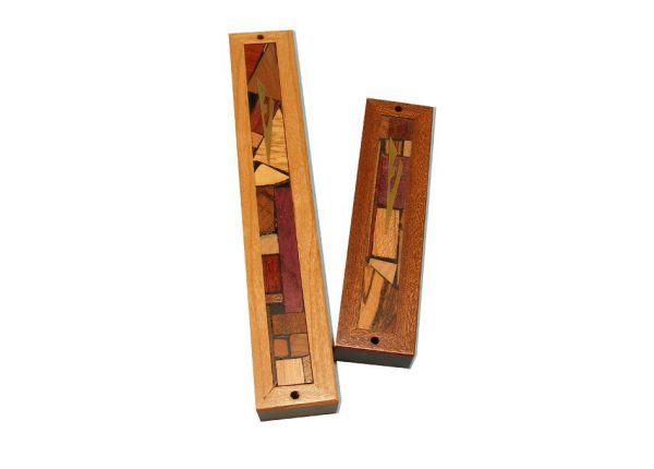 Mezuzah Framed - Two Sizes - Wood & Wood Mosaics - Door Prayer