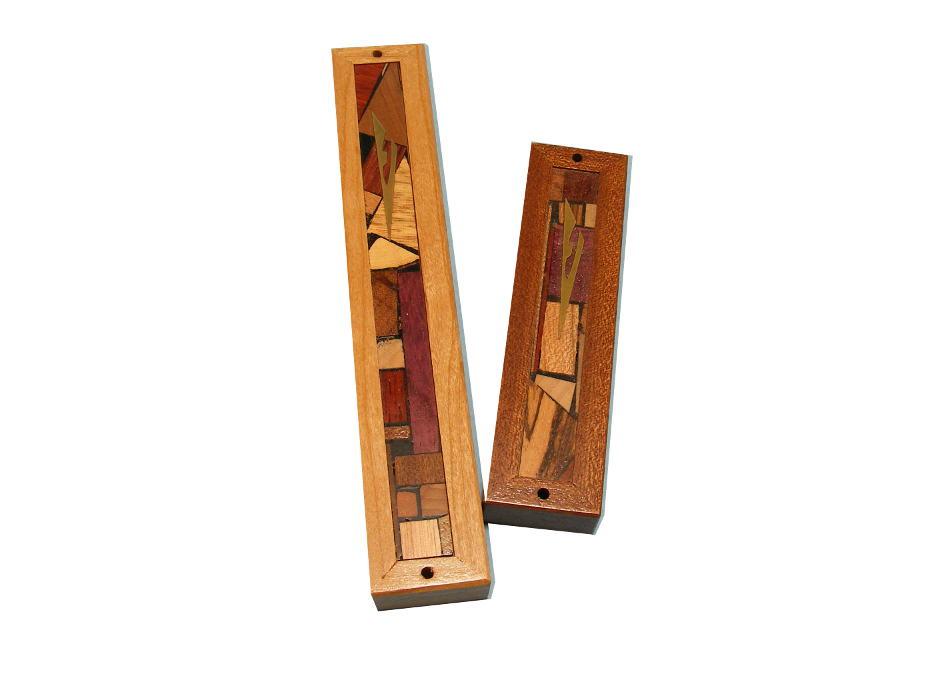 Mezuzah Framed - Two Sizes - Wood & Wood Mosaics - Door Prayer