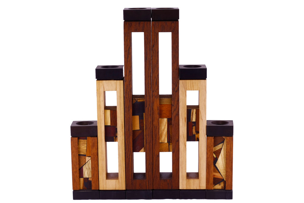 Wooden Candlesticks - Shabbat Candles - Judaica Gift - Set of 3-CAN-AA-3-O