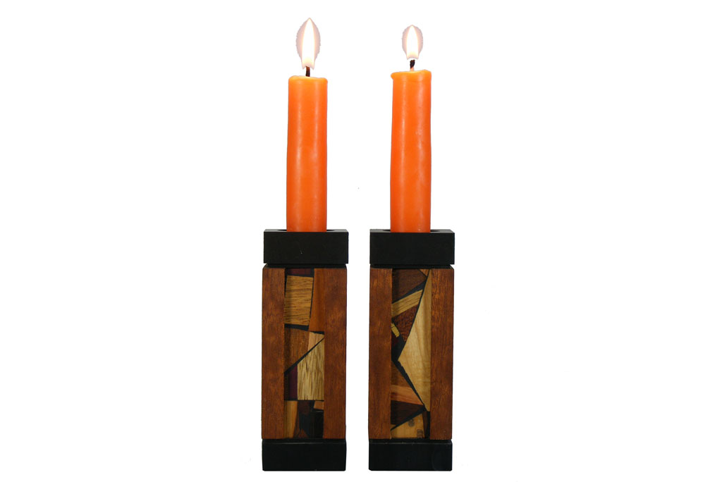 Modern Wooden Candlesticks with Anodized Aluminum - Fire and Light - Small - CAN-AA-S-O