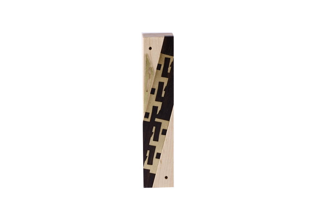 #4-Modern Wooden Mezuzah - Designer Metal & Wood Mezuzah Case - Jewish Housewarming Gift - Maple/Ebony/Brass