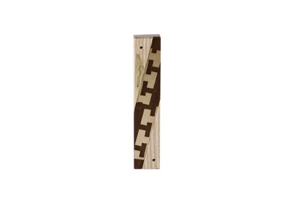 #5-Modern Wooden Mezuzah-Designer Metal & Wood Mezuzah Case-Jewish Wedding Gift - Ash/Ebony/Brass