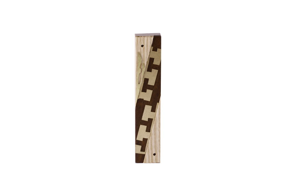 #5-Modern Wooden Mezuzah-Designer Metal & Wood Mezuzah Case-Jewish Wedding