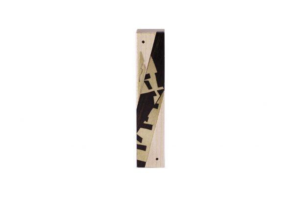 #7 - Modern Wooden Mezuzah - Designer Metal & Wood Mezuzah - Small Jewish Gift - Maple/Imbuya/Brass