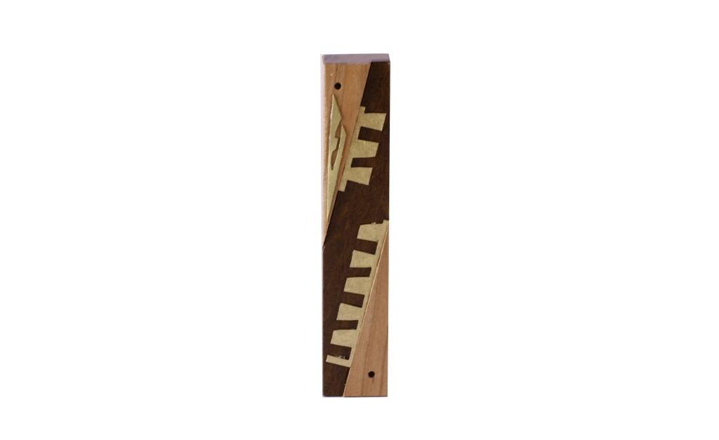 #8 - Modern Wooden Mezuzah - Designer Metal & Wood Mezuzah - Judaica Gift - Cherry/Imbuya/Brass