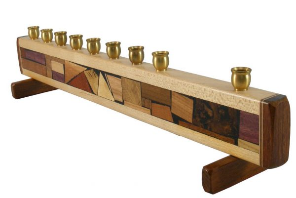 Mosaic Strip Hanukkah Menorah - Wooden Judaica - Hanukah Gift - MEN-S-O-O