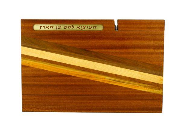 Shabbat Challah Cutting Board with Knife & Blessing-Solid Wood Cutting BoardJewish Wedding Gift--CUT-KB-L-SapTeak-Map-RWC-079