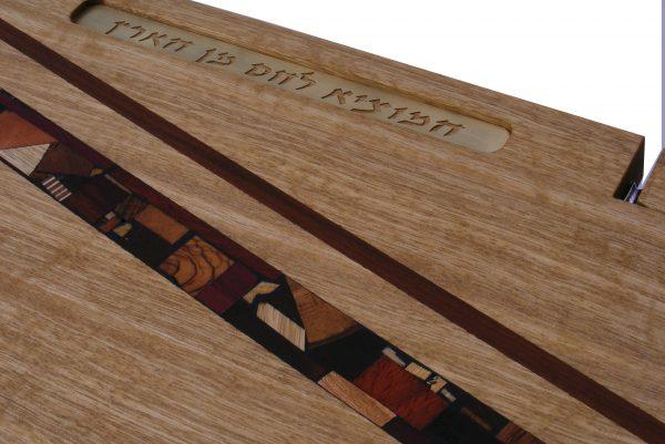 Shabbat Cutting Board with Knife, Mosaics and Bracha- Challah Cutting Board - Frakke Wood - CUT-KMB-O-Frakke