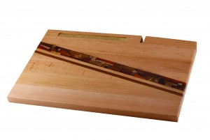 Shabbat Cutting Board w/ Mosaics, Knife, & Blessing - Wooden Cutting Board - Judaica Gift - Beech Wood - CUT-KMB-O-Beech