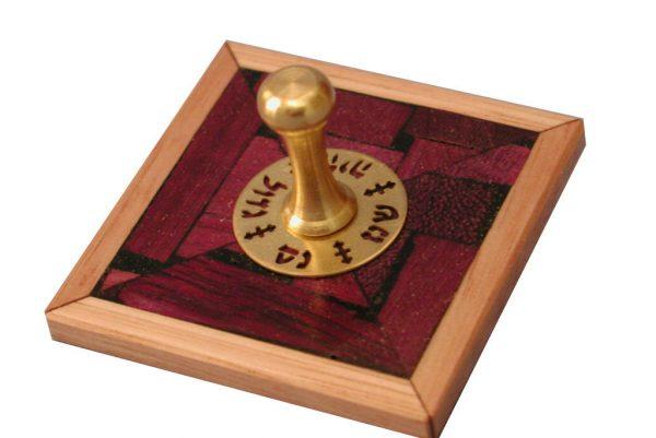 Mosaic Dreidels - Small Purpleheart Wooden Dreidel - Hanukkah Collectors Dreidel - DRE-BM-S-O-RW-P1010084.jpg