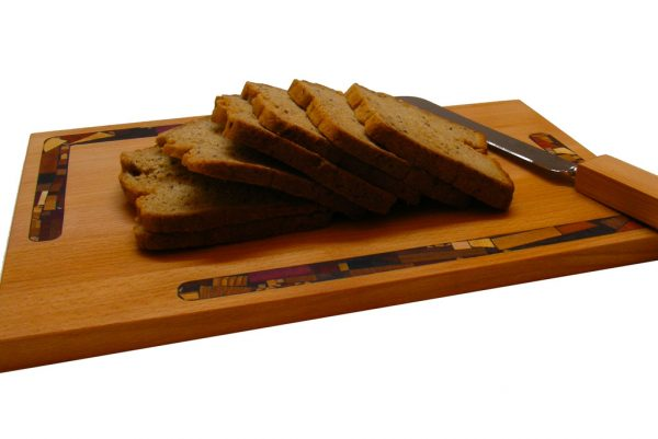Mosaic Challah Cutting Board w/ Mosaics & Knife - Wedding Gift - shown w/ bread-CUT-KM-O-Cherry