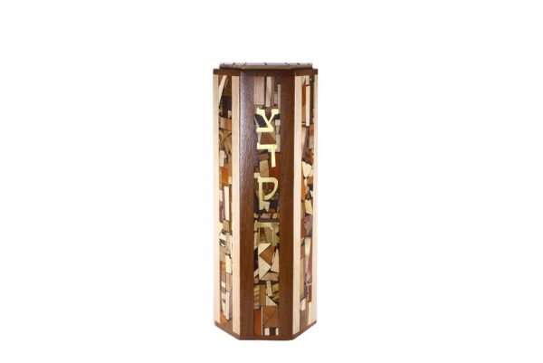 XL Hexagonal Tzedakah Box - Oversized Wooden Tzedakah Box - Jewish Gift
