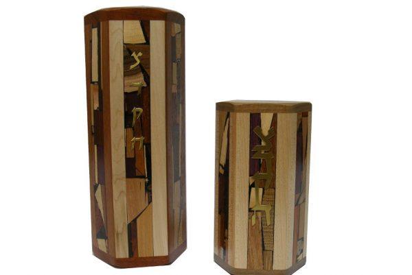 Hexagonal Tzedakah Box - Jewish Gift - Wooden Tzedakah Box - Size Comparion M & L