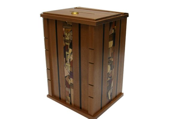 Wall Mounted Synagogue Size Tzedakah Box-Top Open w/ Lock-Dark Accents
