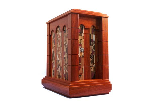 Wall Mounted Synagogue Sized Tzedakah Box - Temple Style - Synagogue Judaica - Side View - Paduak