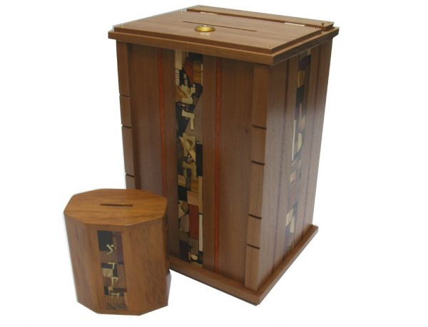 Wooden Wall Mounted Synagogue Sized Tzedakah Box-Synagogue Judaica-Paduak Accents-Size Comparison
