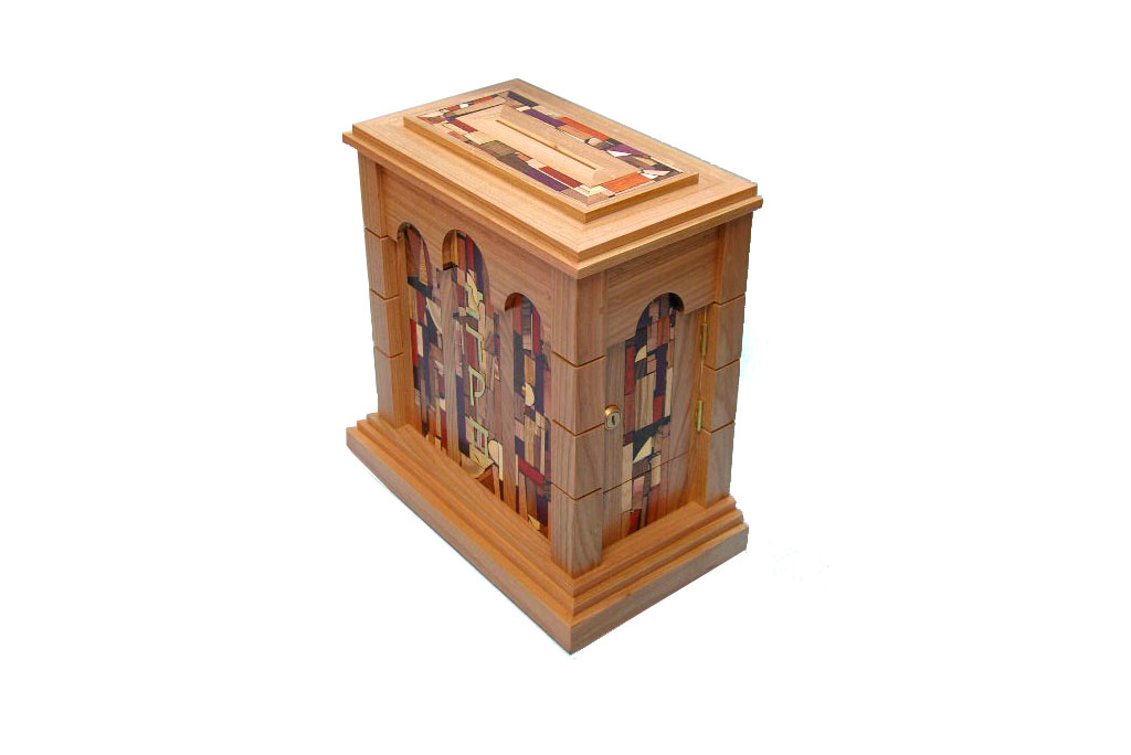 Wall Mounted Synagogue Sized Tzedakah Box - Temple Style - Synagogue Judaica - Top & Side View-Cherry
