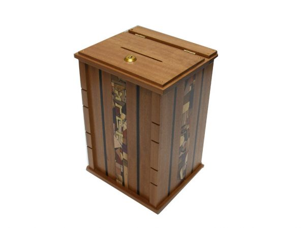 Wall Mounted Synagogue Sized Tzedakah Box - Synagogue Judaica from Wood- Top Detail