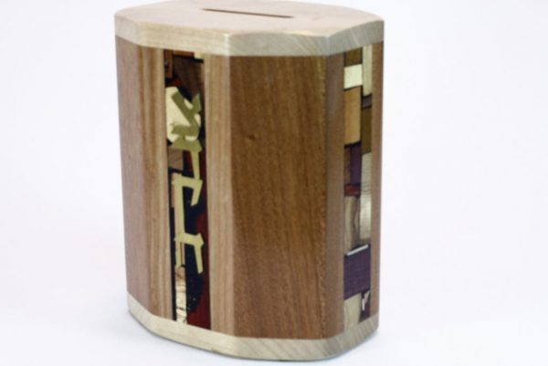 4 Paneled Wooden Tzedakah Box #1 - Housewarming Gift - Jewish Gift - Side View - Cherry /Maple