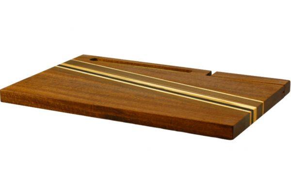 Wood Cutting Board with Knife & Blessing-Jewish Finery for Shabbat Table-Jewish Gift-CUT-KB-L-Sap-RWC-098