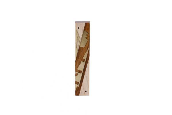#11- Wooden Mezuzah-Designer Metal & Wood Mezuzah - Judaica Gift - Maple/Goncolo/Brass