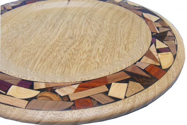 Wood & Mosaic Shabbat Bread Serving Plate-Challah Tray-Bread Server-African walnut wood w/ wide mosaic borderTRAY-M-O-AF