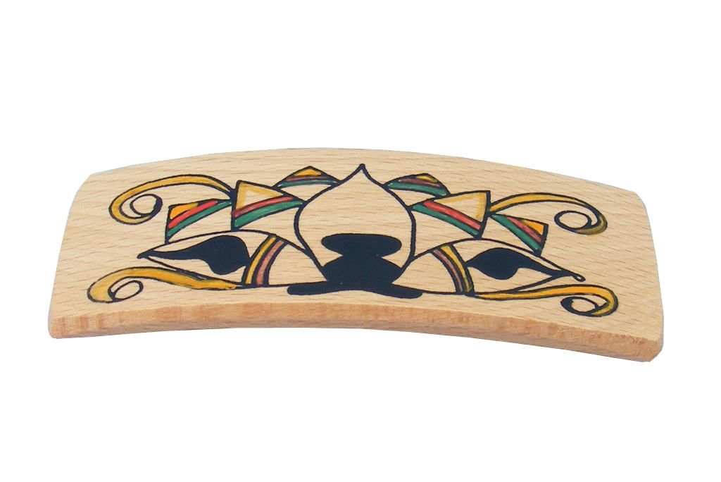 Lotus Archaeology Barrette - Wooden Biblical Barrette- Ancient Ties Series-BAR-Lotus-O-O