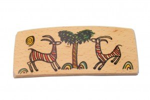Gazelles- Wooden Archaeology Barrette -BAR-Gazelles-O-Beech