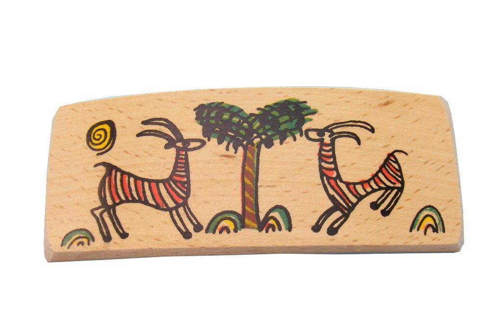 Gazelles- Wooden Archaeology Barrette -BAR-Gazelles-O-Beech