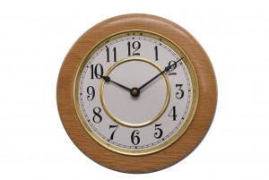 Classic School House Wall Clock - Wall Clock w/ Painted Metal Insert - Wooden Clock - CLOCK-GF-O-oak