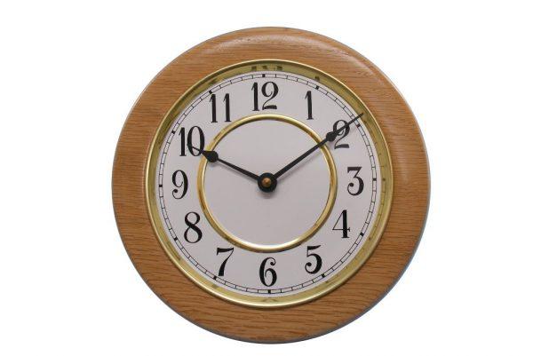 Classic School House Wall Clock - Wall Clock w/ Painted Metal Insert - Wooden Clock - CLOCK-GF-O-oak