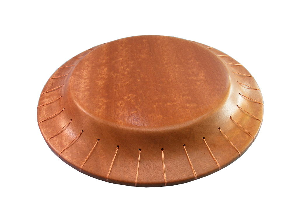 Designer-Bowl - Designer Bowl - Decorative Wooden Bowl - Mosaics and Copper Wire - Underside - BOWL-CopperMosaic-O-sapelli
