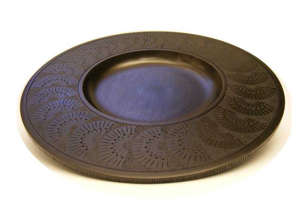 Designer-Home-Decor-Black-Fan-Platter-Carved-Wooden-  sc 1 st  Etz-Ron & Black Fan Wooden Platter-Hand Carved Wide Rimmed Wood Platter ...