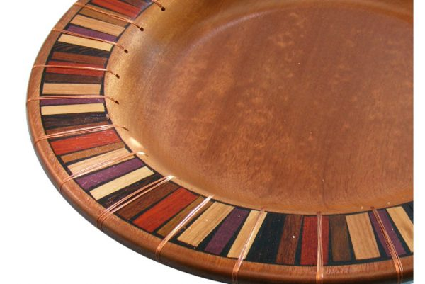 Wooden Platter - Mosaic and Copper - Shallow Wood Bowl - Detail - BOWL-CopperMosaics-O-sapell