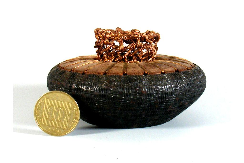 Wood & Copper Accent Bowl -Mini Vessel - Small Spice Box - MINI-VASE-CopperWire-sapelli