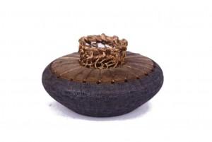 Wood & Copper Acccent Bowl - Mini Spice Box - Small Decorative Vessel - MINI-Vase-CopperWire-sapelli