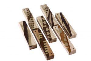 Modern Wooden Mezuzah - Designer Metal & Wood Mezuzah Cases -MEZ-DRB-Sm-O- Mezuzah Case - 7 Assorted Mezuzah Cases