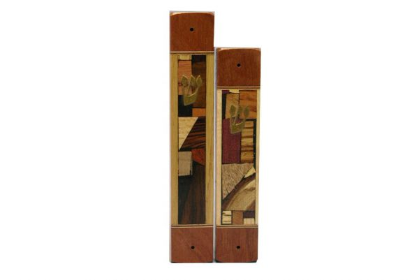 Mosaic Wide Mezuzah Case - Wooden Mezuzah w/ Multi Wood Mosaics - 2 Sizes