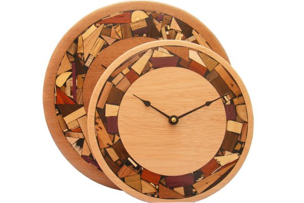 Mosaic wood wall clock size comparisons- w/ mosaic wood rim