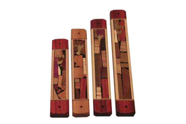 Mosaic Wide Mezuzah Case - Wooden Mezuzahs - Wooden Judaica - Four Sizes
