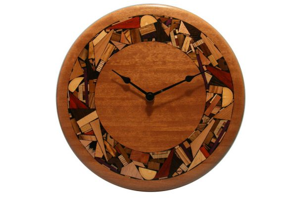 Oversized Modern Wood Clock - w/ hand inlad mosoaic wood border