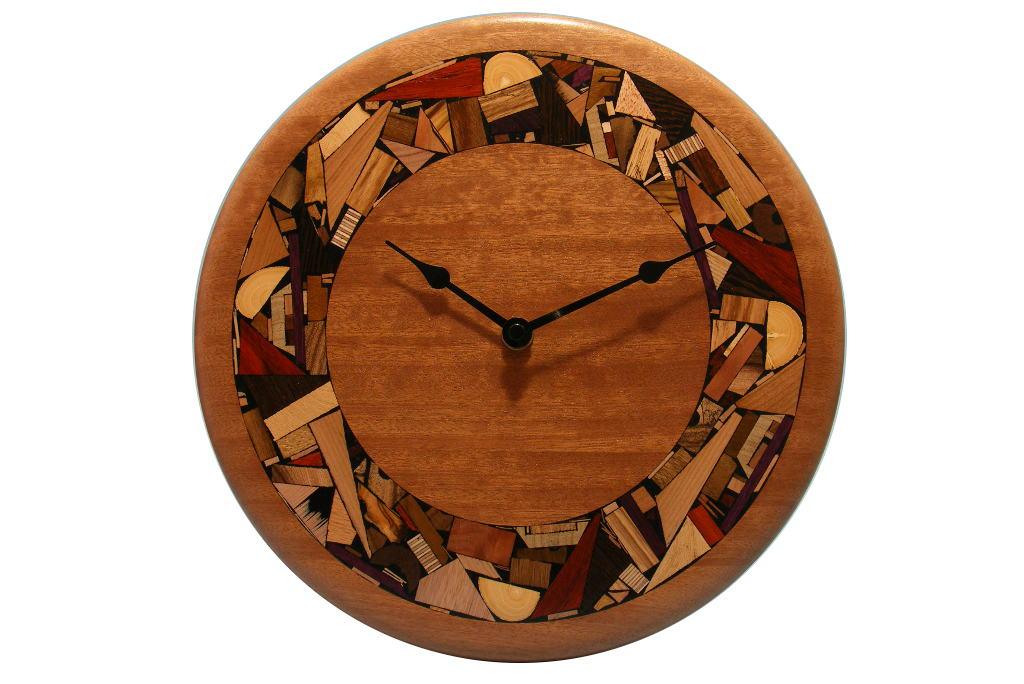 Oversized Modern Wood Clock W Hand Inlad Mosoaic Border