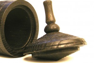 Black Spinning Top Box # 5 - Small Wooden Box - Children's Judaica Gift - Detail - BOX-051-O-ash