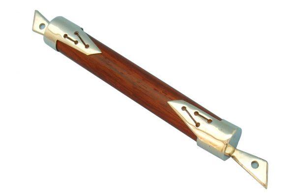 Silver Shin Mezuzah-Stylized Wood & Silve Mezuzah-Jewish Art-MEZ-SS-O-O
