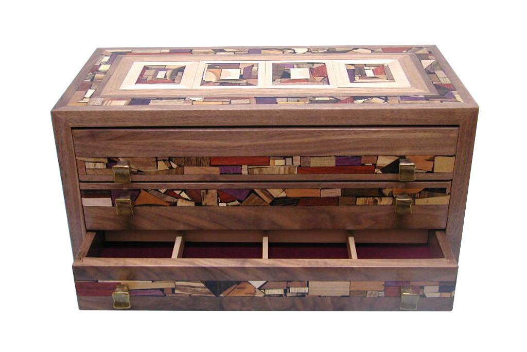 Three Drawer Mosaic Jewelry BoxDecorative Jewelry Organizer